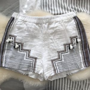 J. Crew linen, tasseled, embroidered shorts. Sz M